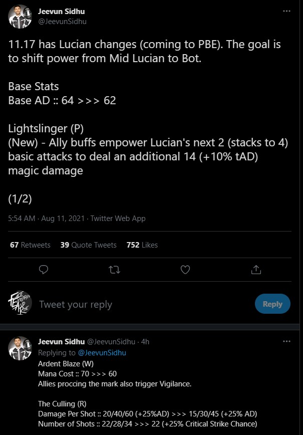 Riot Games công bố kế hoạch đem Lucian ra khỏi các vị trí Đường đơn để trở về với vai trò Xạ thủ